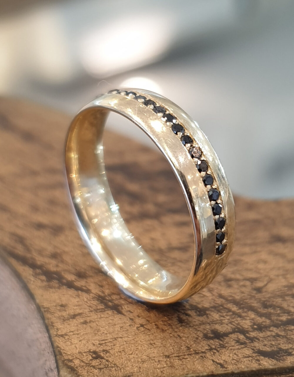 Mens Wedding Band 14K Yellow Gold Black Diamonds, Ring, Gift For Him