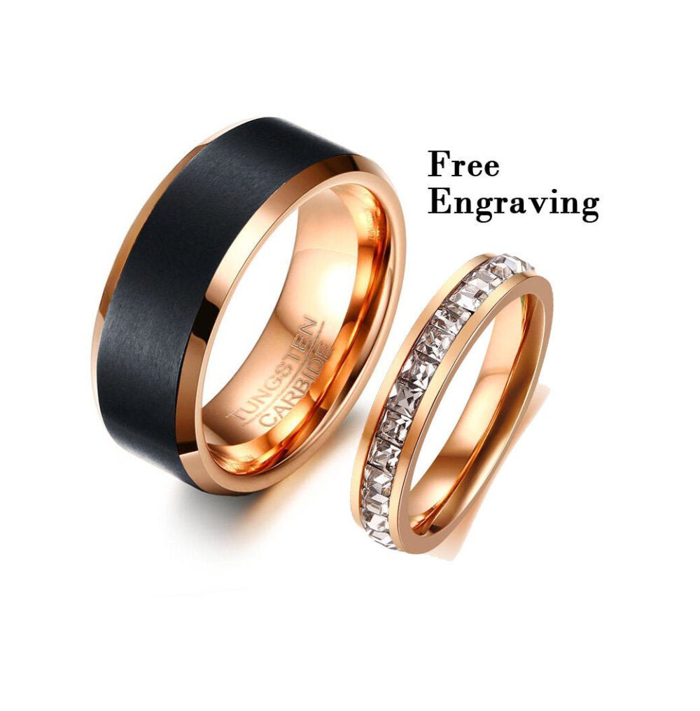 Rose Gold Match Wedding Band Set His & Her, Promise Ring For Couples