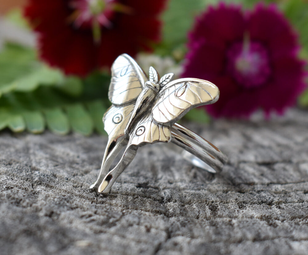 Luna Moth Ring, Sterling Silver Jewelry, Butterfly Gothic Gift For Girlfriend, Moon