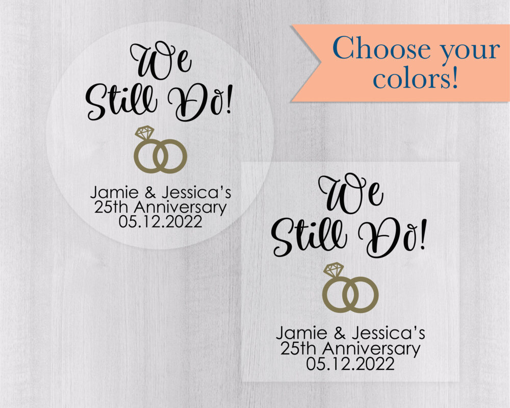 We Still Do Anniversary & Vow Renewal Stickers, Wedding Band Clear/Transparent Favor Stickers | #144-3-C