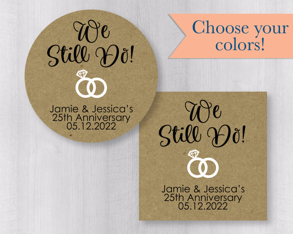 We Still Do Anniversary & Vow Renewal Stickers, Wedding Band Kraft Brown Favor Stickers | #144-3-Kr