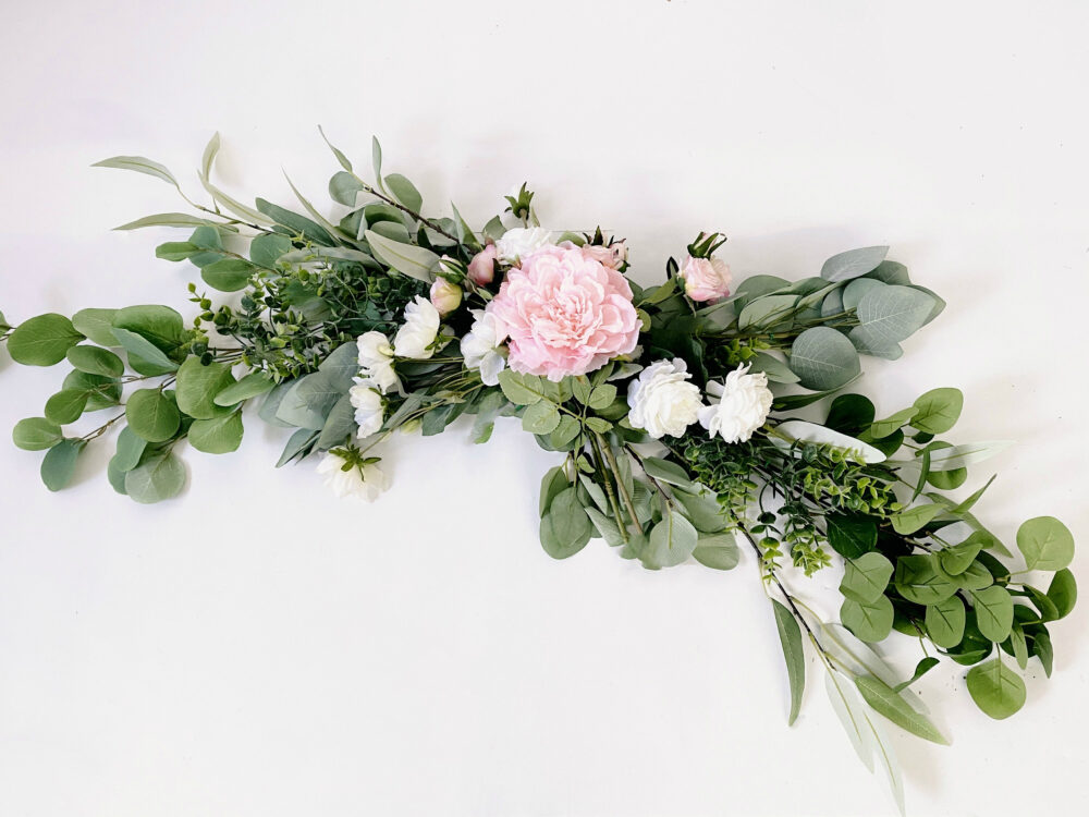 Blush Pink & White Floral Swag For Front Door/Wedding Arch/Arbor/Archway/Wall Decor, Silk Flower Swag, Wedding Hanging Flowers