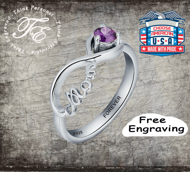 Mother's Mom Infinity Ring Engraved Choice Of Birthstone
