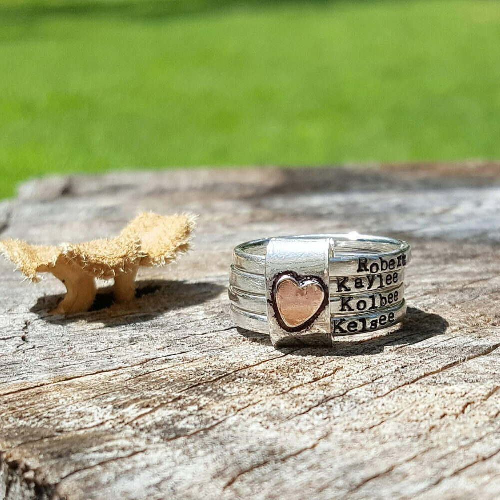 Mothers Rustic Stacking Rings, Personalized Mother Ring Set, Sterling Silver, Hand Stamped, Gift For Her, Anniversary
