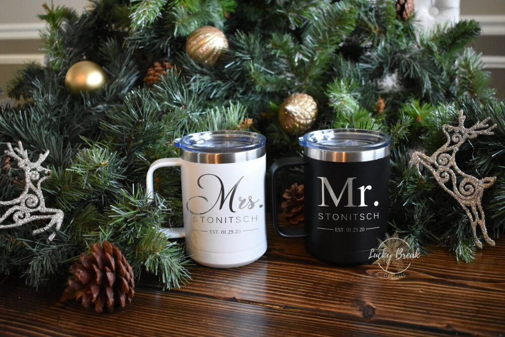 Bride & Groom Mr. Mrs. Engagement Personalized Stainless Steel Coffee Mug Cup Wedding Holiday Gift Set