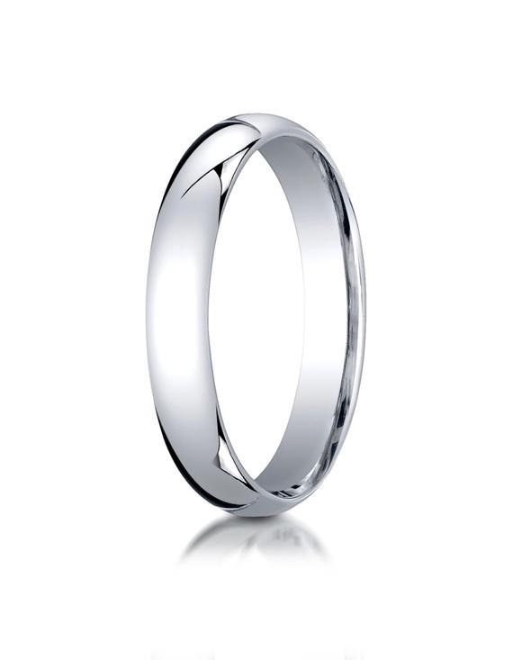 4mm 950 Platinum Wedding Band/ Classic/ Plain/ Comfort Fit/ Traditional Domed Anniversary Gift For Her-Him