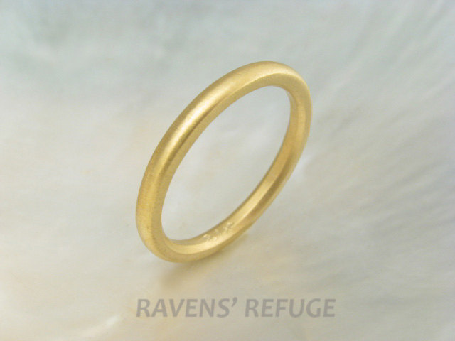 21K Yellow Gold Domed Wedding Band/stacking Ring, 2mm Classic Half Round Ring