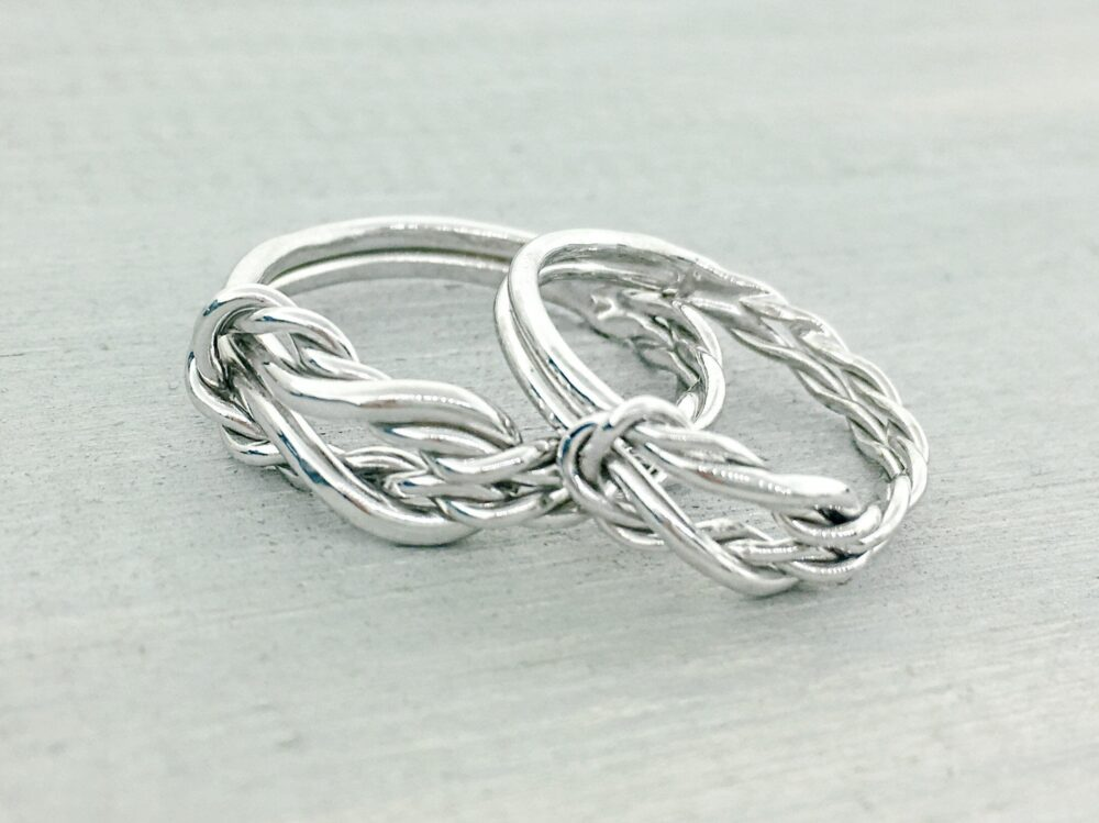 Infinity Knot Ring, Wedding Band Set, His & Hers Gift For Her