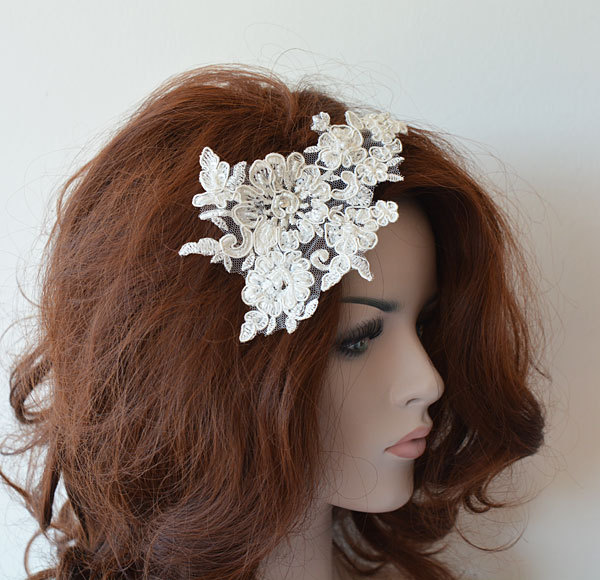 Ivory Lace Wedding Headband, Bridal Hair Comb, Piece, Accessories, Comb For Bride, 1920S