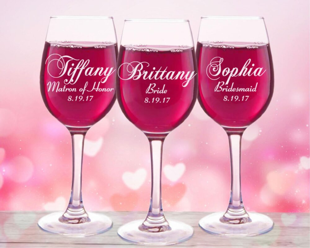 10 Bridesmaids, Personalized Wine Glasses, Bridal Party Gifts, Shower Favors, Bridesmaid Gift, Set Of 10, Mother The Bride Groom