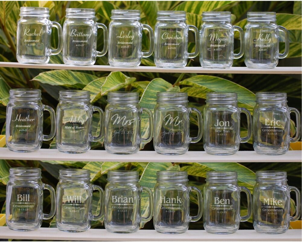 10 Groomsmen, Personalized Mason Jar Mugs, Custom Wedding Favor Bridesmaid Gift Party For Men