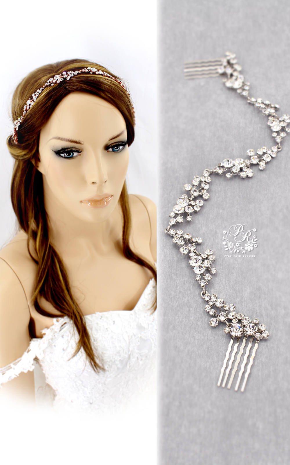 Wedding Hairpiece Rhinestone Hair Comb Bridal Jewelry Accessory Headband Meteor