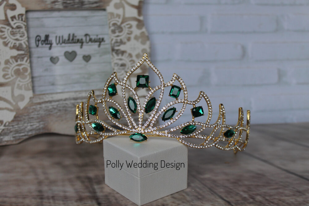 Emerald Tiara, Gold Tiara, Royal Crown, Crystal Tiara, Bridal Tiara, Crystal Wedding Crown, Rhinestone Tiara, Wedding Tiara, Diamante Crown