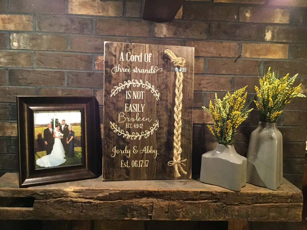 A Cord Of Three Strands Is Not Easily Broken | Ecc 49-12 Wedding Unity Ceremony Alternative Braid Sign Personalized