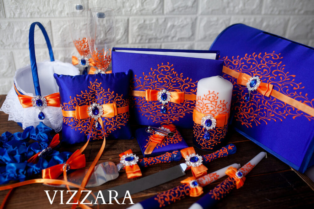 Bridal Accessories Sets Royal Blue & Orange Wedding Unity Candle Set Ring Bearers Pillows Cake Servers Guests Books Wedding Money Boxes