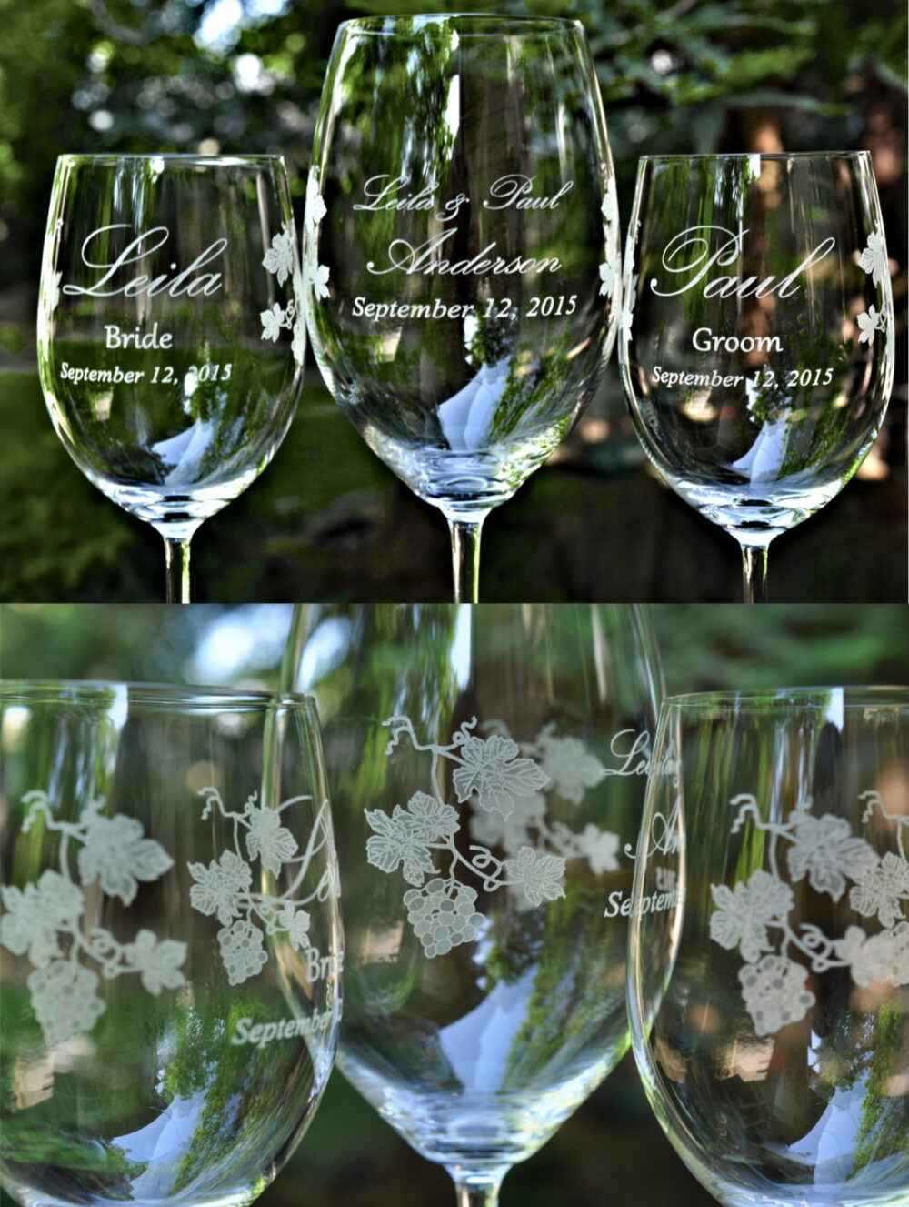 Wedding Unity Crystal Wine Glass Set Winery Themed Personalized & Dated