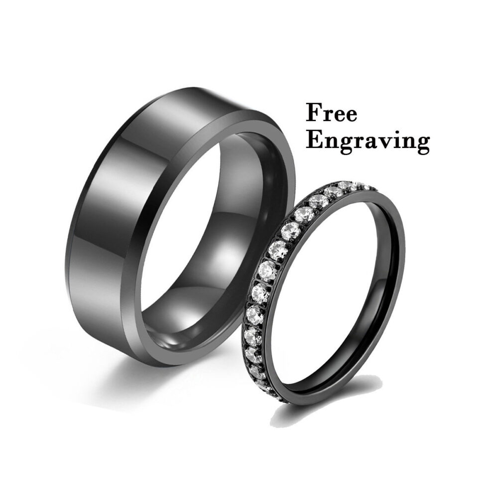 Black Wedding Band Sets His & Her, Wedding Rings Hers