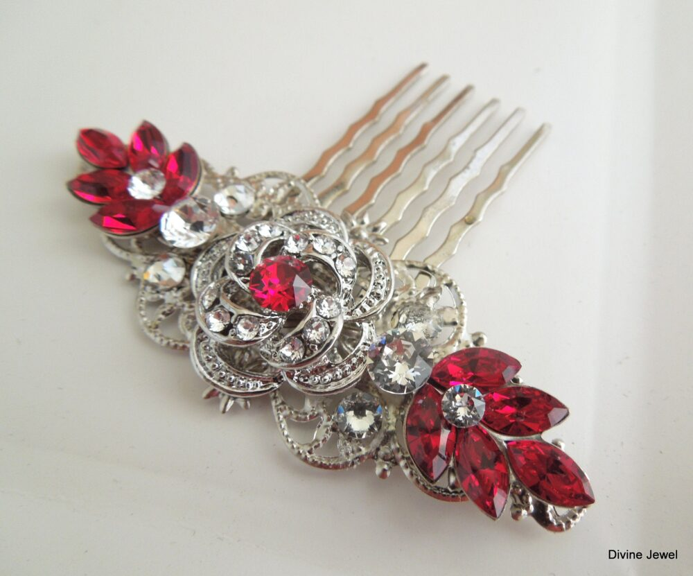 Swarovski Crystal, Bridal Hair Comb, Wedding Hair Accessories, Comb Vintage, Rhinestone Bridesmaid Red, Roselani