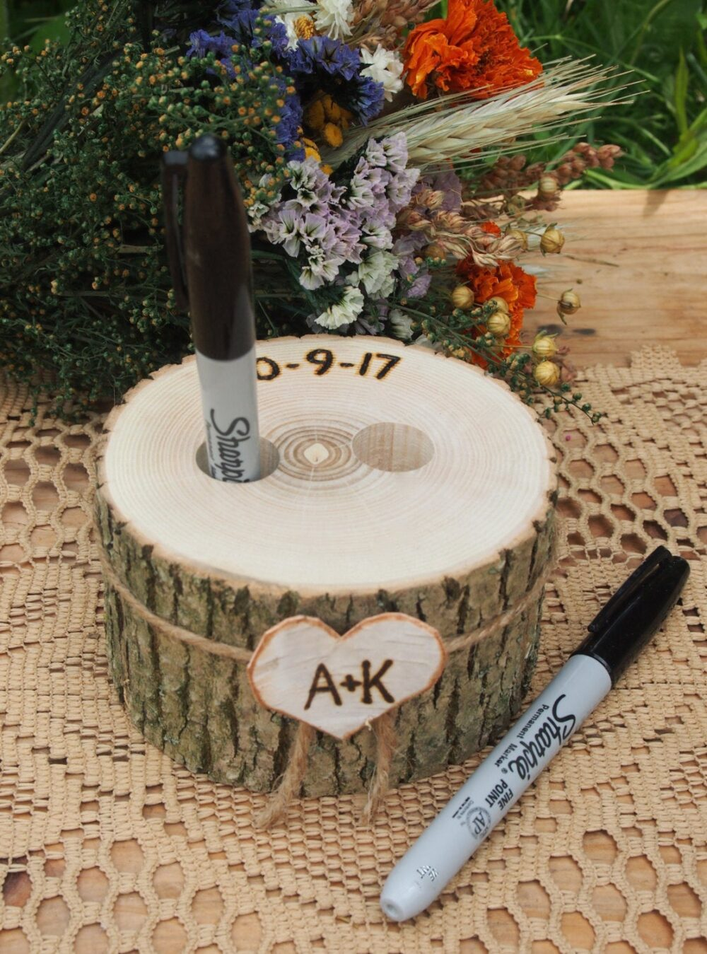 Wood Pen Holder, Guest Book, Wedding Table, Rustic Country