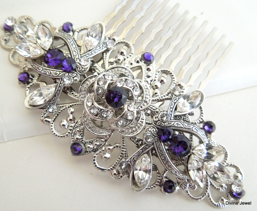 Swarovski Crystal, Bridal Hair Comb, Wedding Wedding Accessories, Hair Comb Vintage, Rhinestone Comb, Purple, Roselani