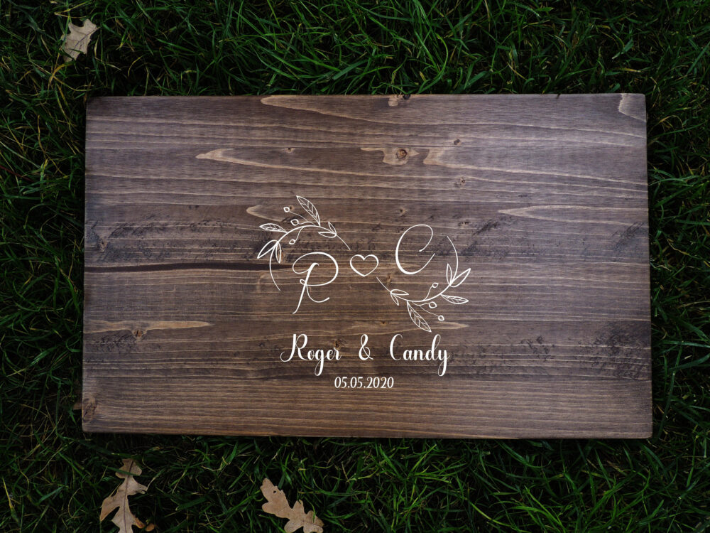 Creative Rustic Wedding Guest Book Alternative | Calligraphy Name Design Decor Wood Country Gift
