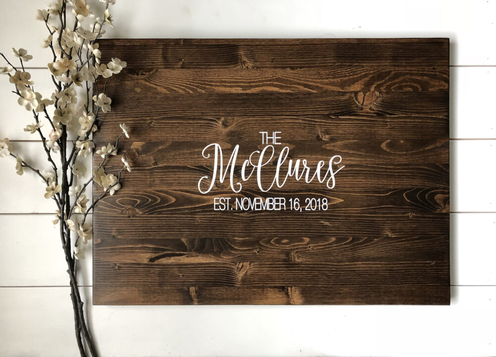 Rustic Wedding Guest Book Alternative /Calligraphy Name Design/Rustic Decor Wood Sign Country Gift