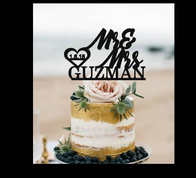 Mr & Mrs Cake Topper, Personalized Wedding Cake Topper, Gold Or Silver Glitter Last Name Topper