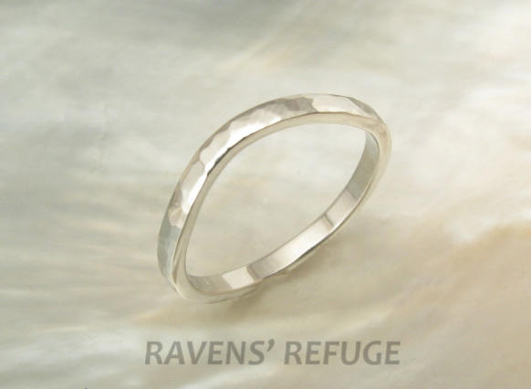 2mm Curved Platinum Wedding Ring Hand Forged, Hammered Contoured Band