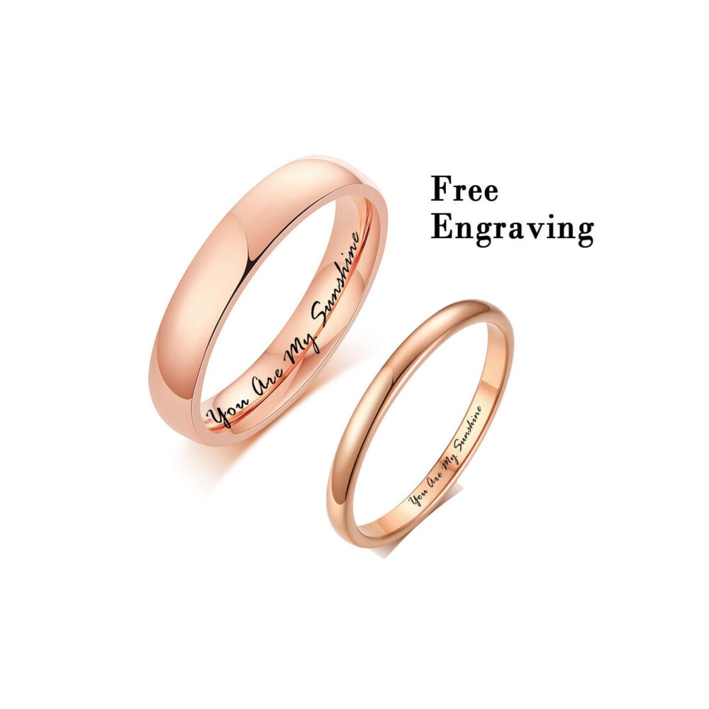 2mm/4mm 18K Rose Gold Plated Stainless Steel Engraved Couple Band