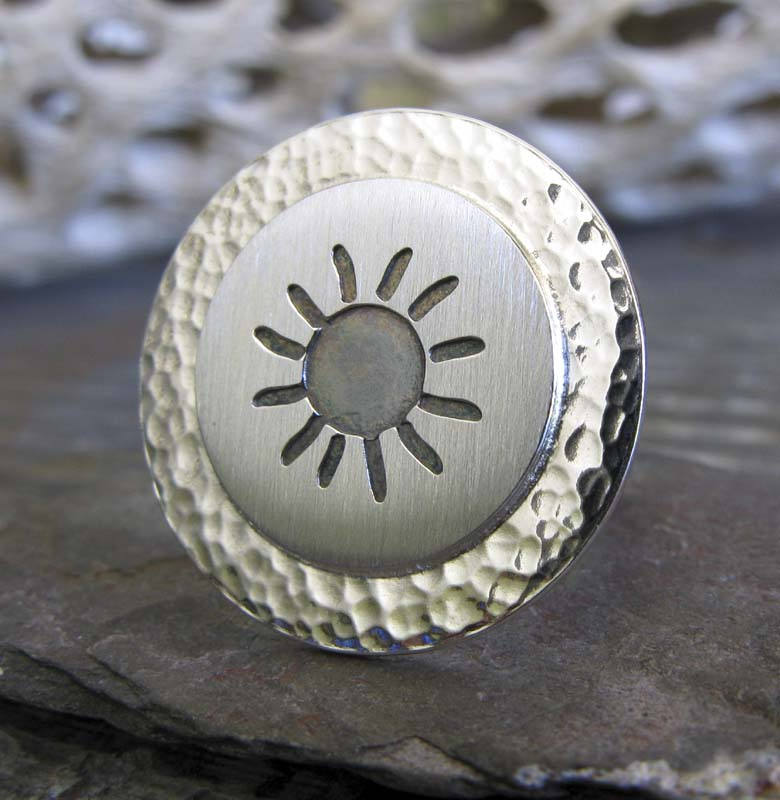 Sun Ring in Sterling Silver. Unique Bold Statement Ring. 4mm Band. Brushed & Polished. Hammered Disc Outdoors Lover Gift For Her