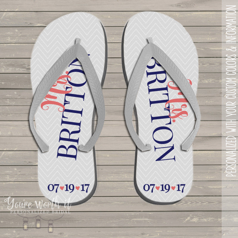 Wedding Flip Flops - Bride To Be Personalized Last Name & Date