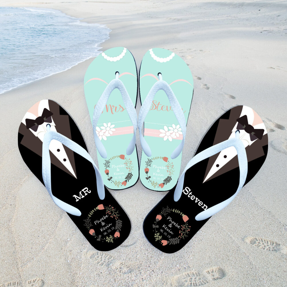 Custom Flip Flops , Thank You Gifts For Guest, Bride Shoe, Bride Flops