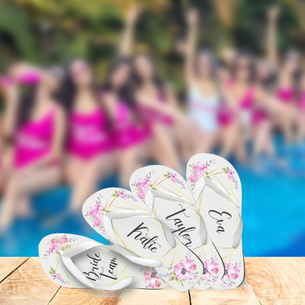 Custom Bridal Flip Flops, Brides, Bridesmaids , Moh, Maid Of Honor, Mother The Bride, Groom, Floral Watercolor