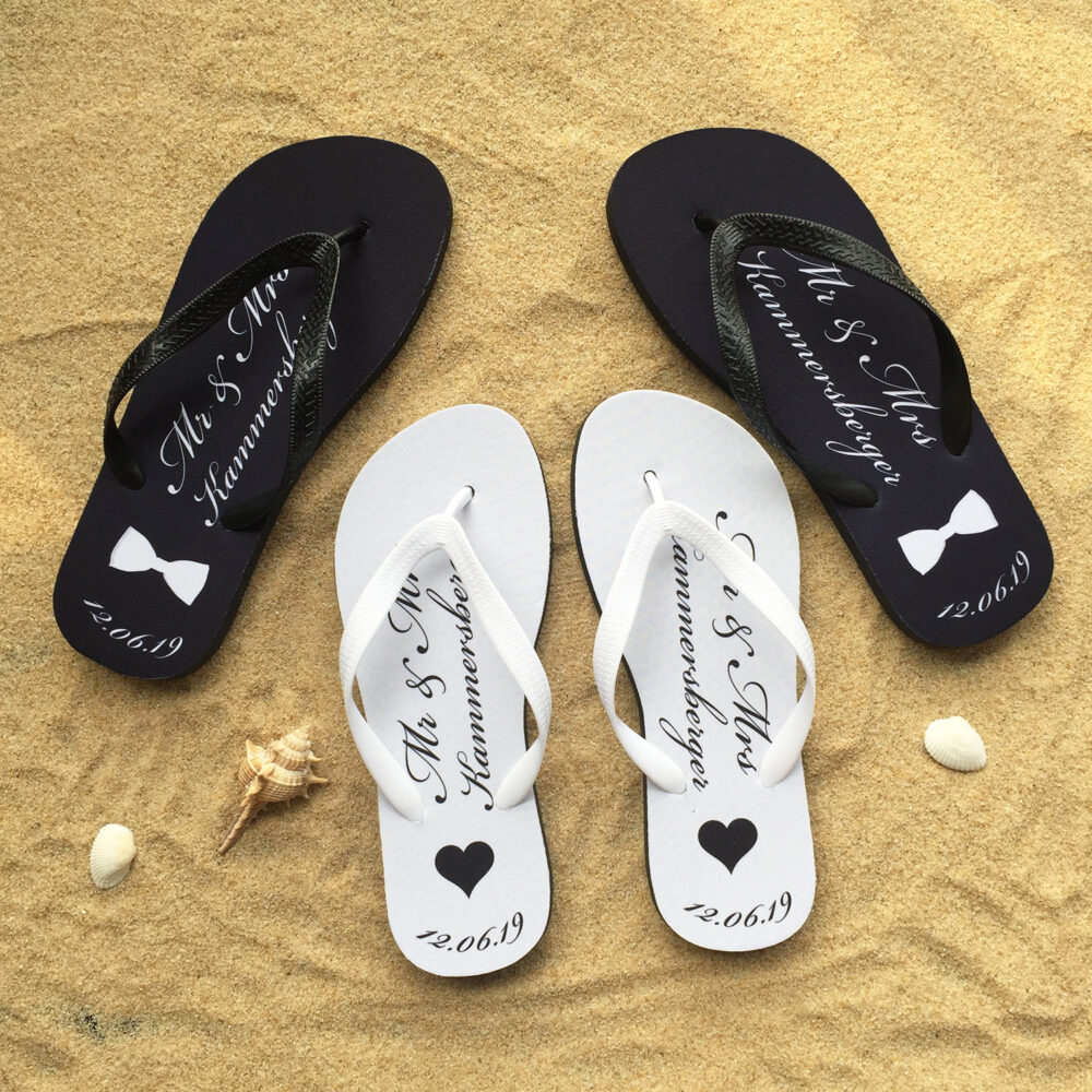Beach Wedding Flip Flops, Just Married Honeymoon Bride Groom Flop
