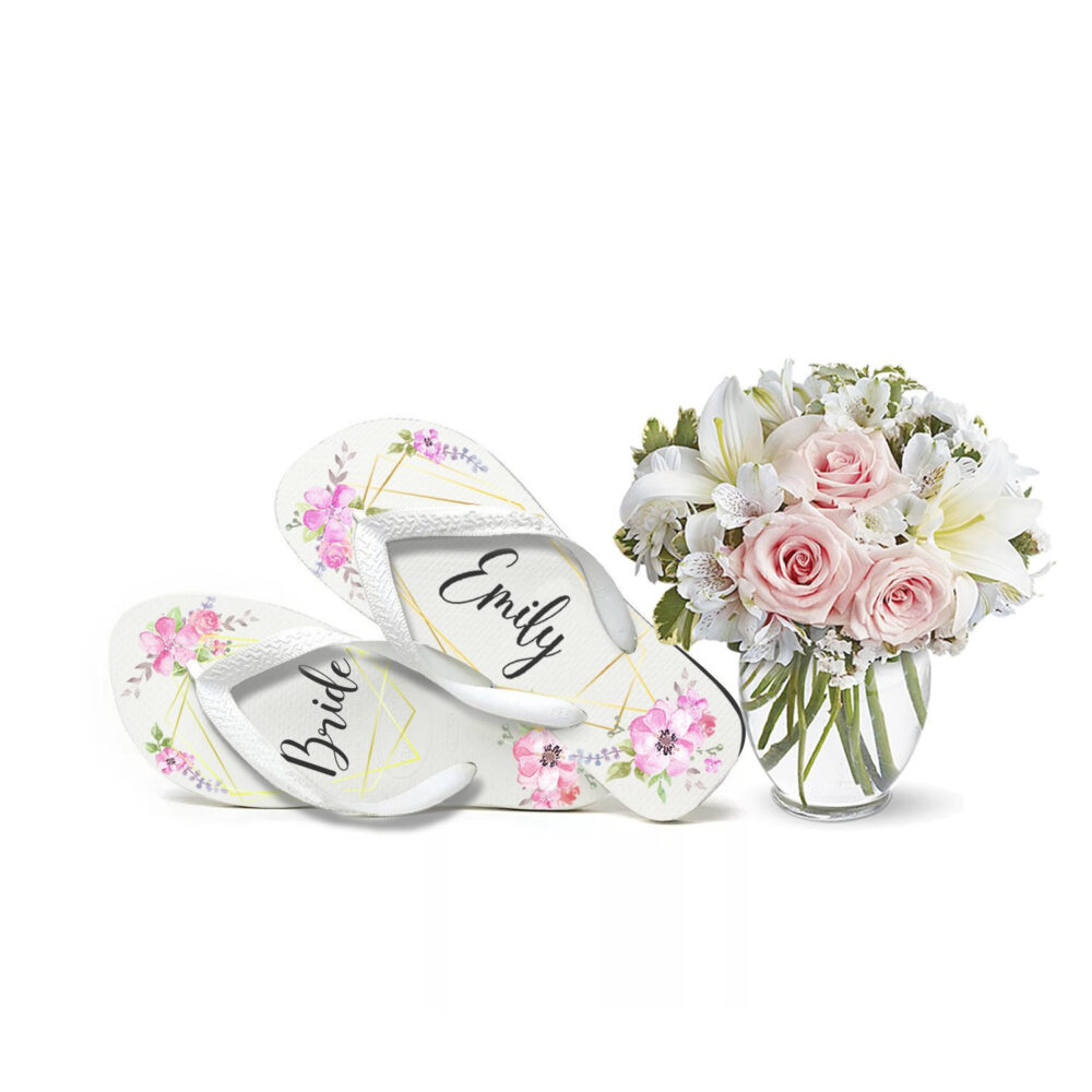 Custom Bridal Flip Flops, Shower Flops , Spa Day Personalized Bride Floral Watercolor
