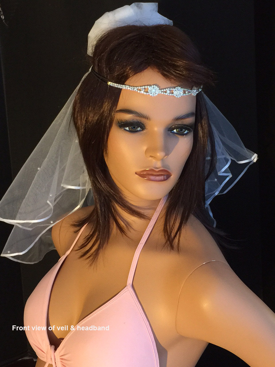 Boho Crystal Headband Choice Of 6 Styles, 2 Tier Veil With Pearls, Veil, Tiers Crystal Headwrap By Val's Veils