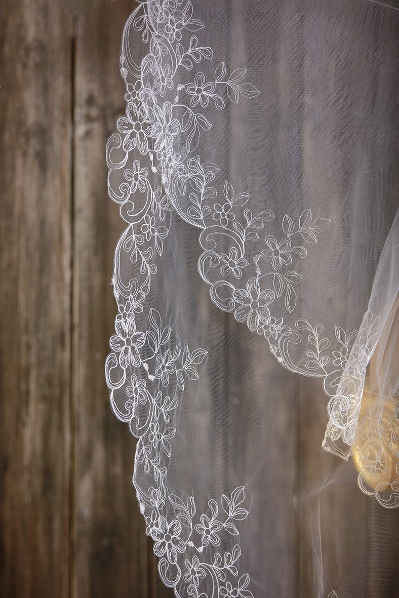 Wedding Veil, Bridal Veil, Two-Tier Veil, Two Tier Cathedral Length, Two Chapel Fingertip Veil