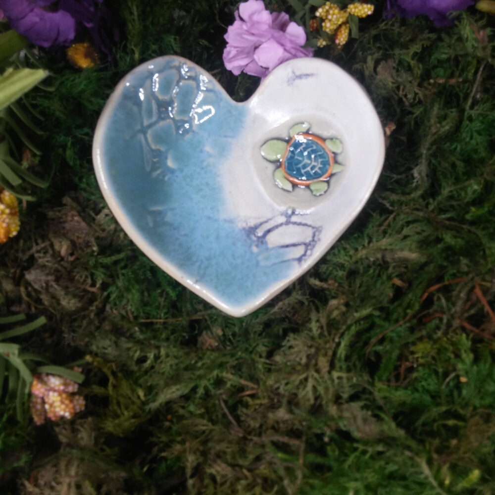 Wedding Band Bowl W/Turtle Ceremonial Dish For Wedding Rings-Heart Ring Bowl-Pill Dish-Spoon Rest-Hearing Aid Dish-Tea Bag Holder-Brillo Pad