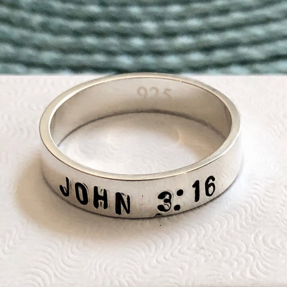 Bible Verse Ring - Personalized Scripture Gift For Him - Her - Confirmation Gift - Sterling Silver - Christmas