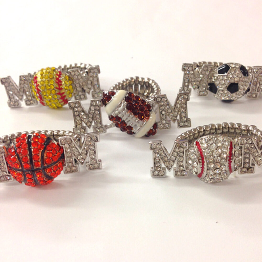 Rhinestone Softball Football Soccer Basketball Baseball Mom Stretch Ring/Bling Sports Gift For Her