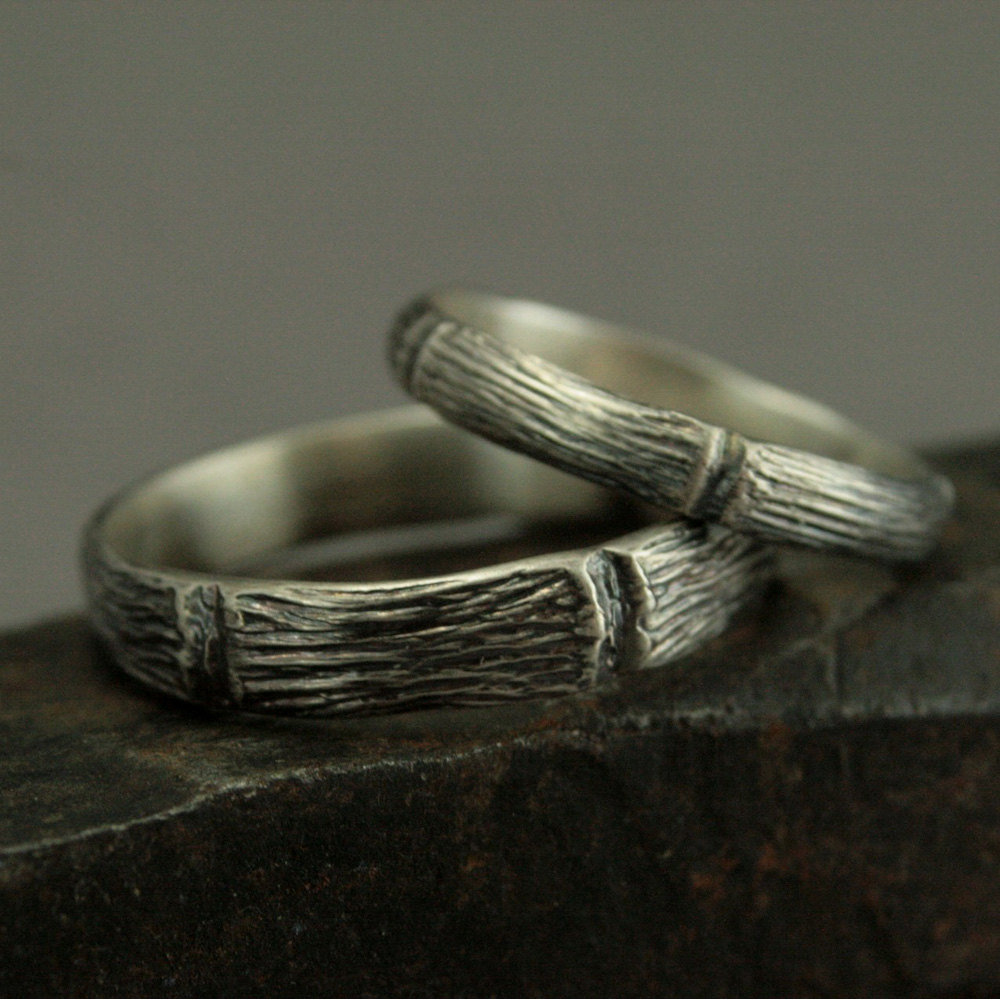 Woodland Wedding Set - Handmade Forest Rings Sterling Silver Bands -Unique His & Hers Ring