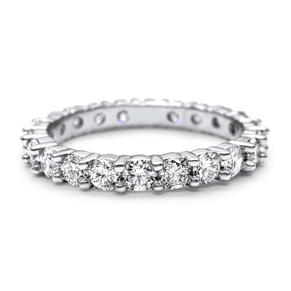 Lab Grown Diamond Full Eternity Ring Platinum Wedding Band 1.3 Carat Gift For Her