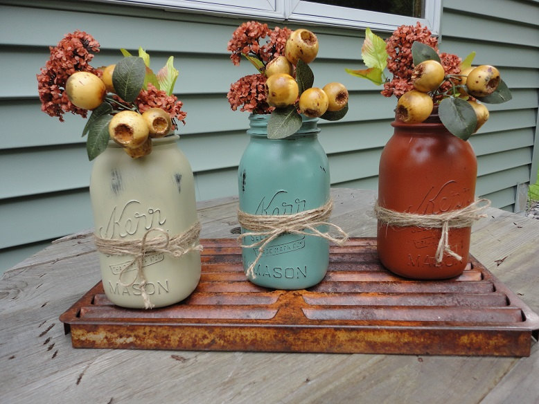Fall Mason Jars, Autumn Quart Size Jars, Jar Decor, Centerpiece, Distressed Vases