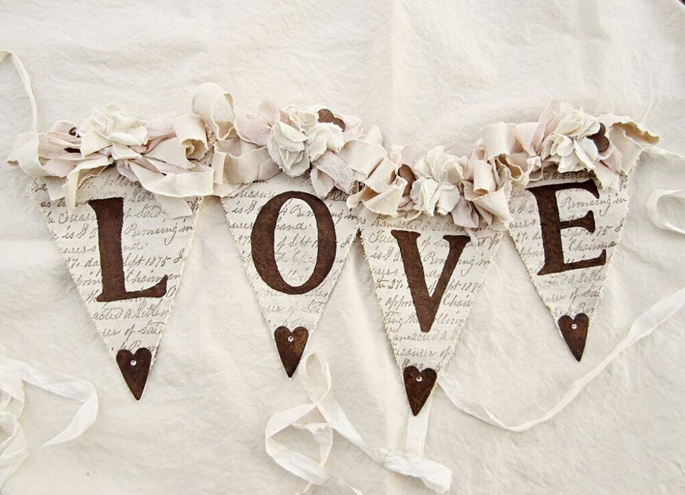 Wedding Banner, Rustic Chic Decor, Vintage Bridal Shower Shabby Decor