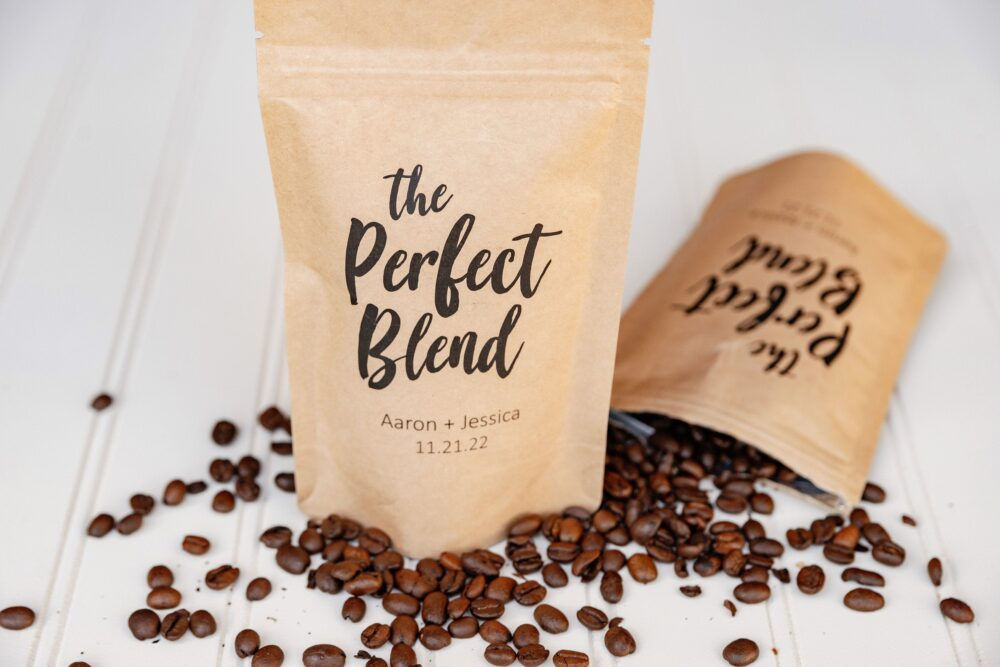 The Perfect Blend Coffee Wedding Favor Bag - Bridal Shower Favor, Bags, Resealable Pouch, Personalized