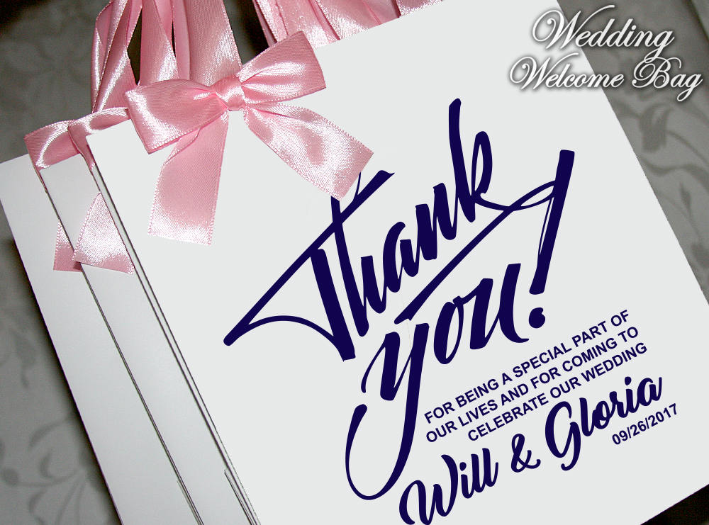 25 Thank You Wedding Gift Bags With Satin Ribbon, Bow & Tag. Elegant Bag. Wedding Favor Bags. Welcome Party