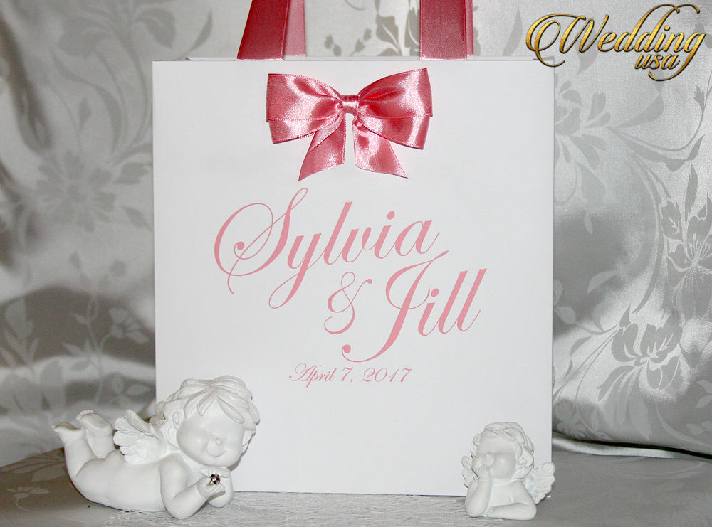 Wedding Favor Bags With Bow & Names - Elegant Welcome Paper Bags Weddings Gifts Favors Welcome For Wedding Guest