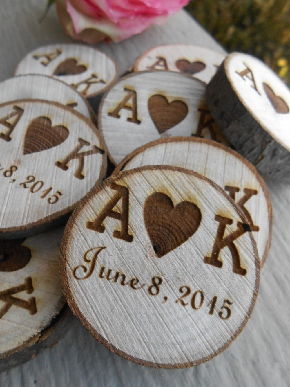 200 Personalized Initials Wood Rounds. Laser Cut, Rustic Wedding Vase Filler, Confetti. Monogram, Letter