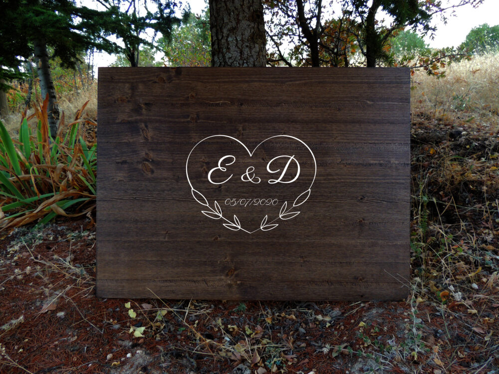 Rustic Wedding Guest Book Alternative Calligraphy Name Design Decor Wood Sign Country Gift