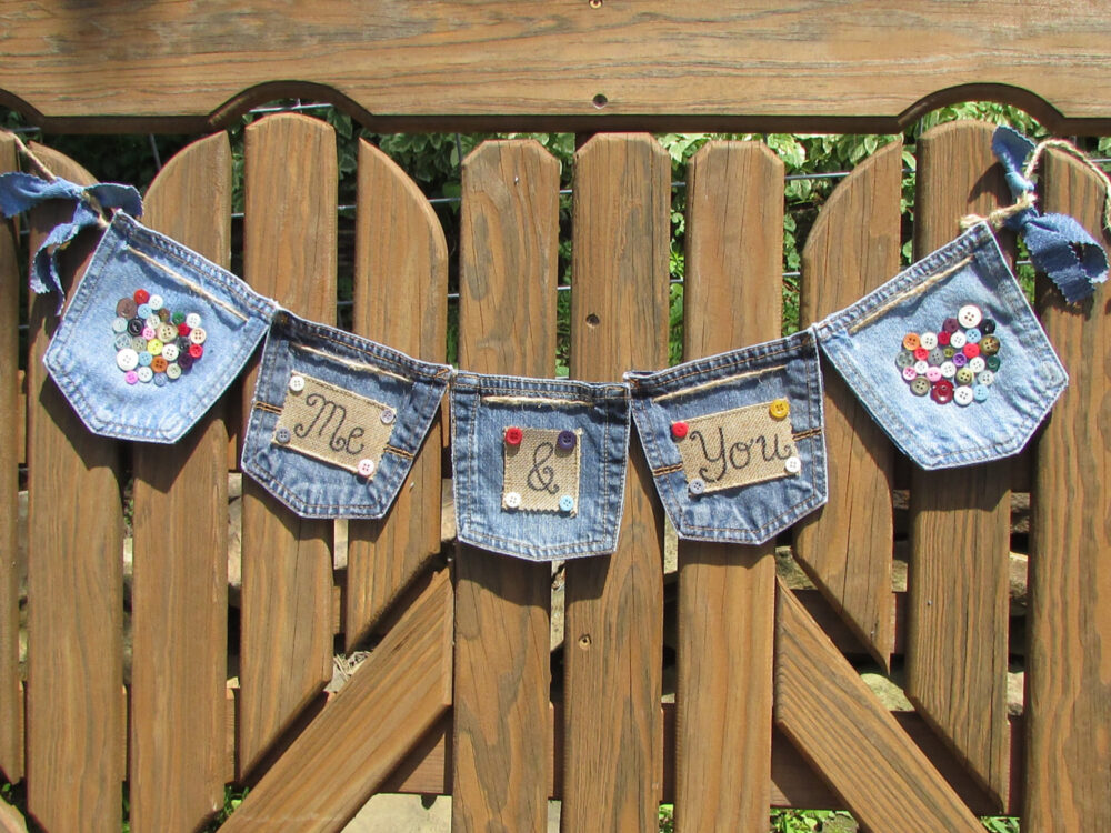 Denim Wedding Banner, Me & You & Wedding, Button Vintage